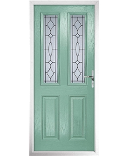 The Cardiff Composite Door in Green (Chartwell) with Zinc Art Clarity