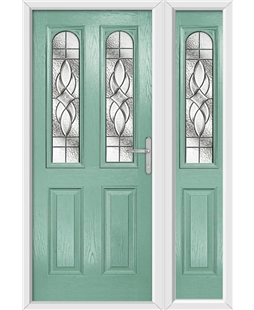 The Aberdeen Composite Door in Green (Chartwell) with Zinc Art Elegance and matching Side Panel
