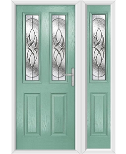 The Cardiff Composite Door in Green (Chartwell) with Zinc Art Elegance and matching Side Panel