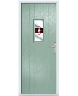 The Taunton Composite Door in Green (Chartwell) with Red Crystal Bohemia