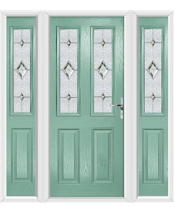 The Cardiff Composite Door in Green (Chartwell) with Crystal Diamond and matching Side Panels