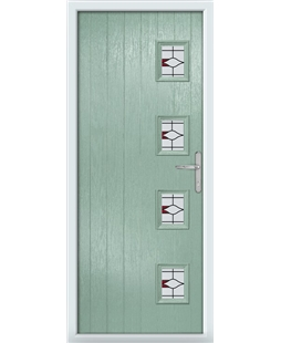 The Preston Composite Door in Green (Chartwell) with Red Barcelona
