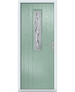 The Sheffield Composite Door in Green (Chartwell) with Crystal