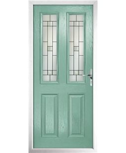 The Cardiff Composite Door in Green (Chartwell) with Tate