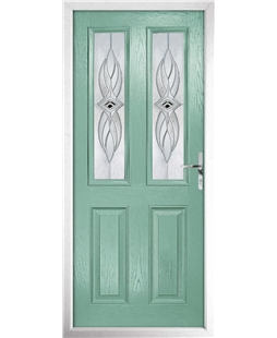 The Cardiff Composite Door in Green (Chartwell) with Westminster