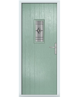 The Taunton Composite Door in Green (Chartwell) with Fusion Graphite