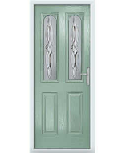 The Aberdeen Composite Door in Green (Chartwell) with Crystal