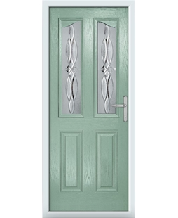The Birmingham Composite Door in Green (Chartwell) with Crystal