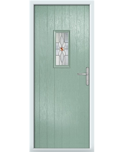 The Taunton Composite Door in Green (Chartwell) with Daventry Red