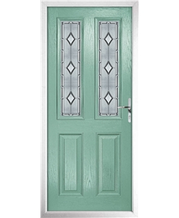 The Cardiff Composite Door in Green (Chartwell) with Ice