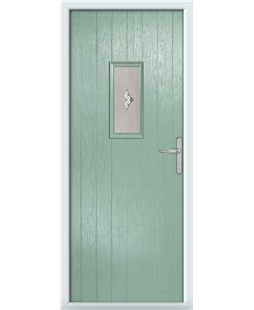 The Taunton Composite Door in Green (Chartwell) with Luxury Crystal