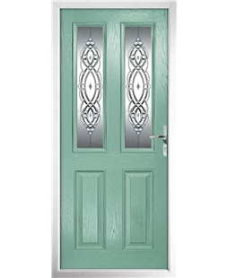 The Cardiff Composite Door in Green (Chartwell) with Reflections