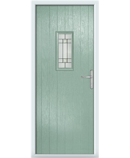 The Taunton Composite Door in Green (Chartwell) with Tate