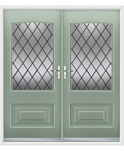 Portland French Rockdoor in Chartwell Green with Diamond Lead