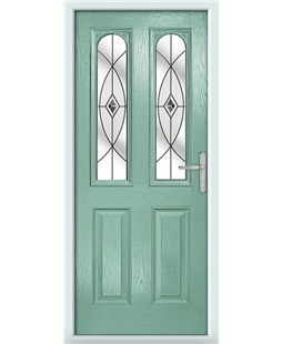 The Aberdeen Composite Door in Green (Chartwell) with Black Fusion Ellipse