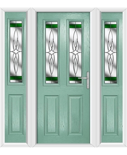 The Cardiff Composite Door in Green (Chartwell) with Green Crystal Harmony and matching Side Panels