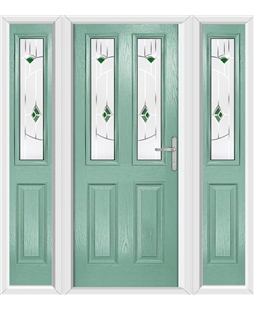 The Cardiff Composite Door in Green (Chartwell) with Green Murano and matching Side Panels