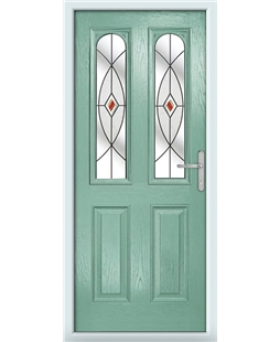 The Aberdeen Composite Door in Green (Chartwell) with Red Fusion Ellipse