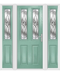 The Cardiff Composite Door in Green (Chartwell) with Zinc Art Elegance and matching Side Panels
