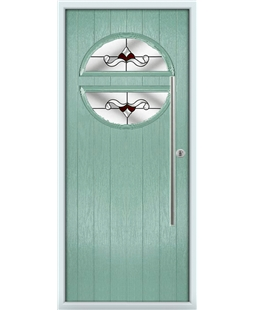 The Xenia Composite Door in Green (Chartwell) with Red Crystal Bohemia