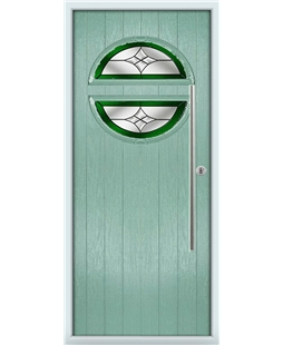 The Xenia Composite Door in Green (Chartwell) with Green Crystal Harmony