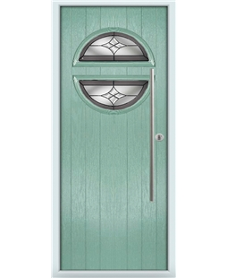 The Xenia Composite Door in Green (Chartwell) with Crystal Harmony Frost