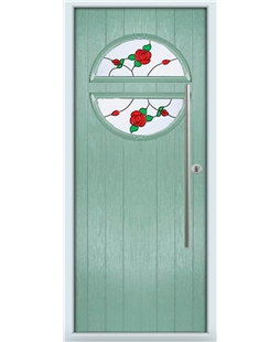 The Xenia Composite Door in Green (Chartwell) with English Rose