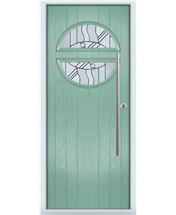 The Xenia Composite Door in Green (Chartwell) with Zinc Art Abstract