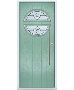 The Xenia Composite Door in Green (Chartwell) with Zinc Art Clarity