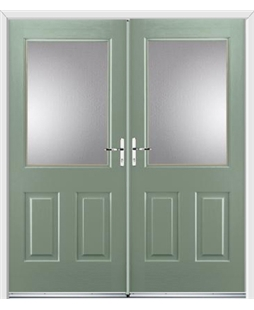 Windsor French Rockdoor in Chartwell Green with Glazing