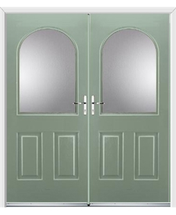 Kentucky French Rockdoor in Chartwell Green with Glazing