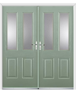 Jacobean French Rockdoor in Chartwell Green with Glazing