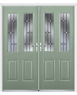 Jacobean French Rockdoor in Chartwell Green with Crystal Bevel