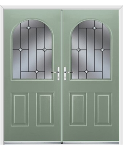 Kentucky French Rockdoor in Chartwell Green with Crystal Bevel