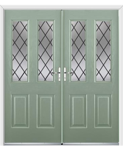 Jacobean French Rockdoor in Chartwell Green with Diamond Lead