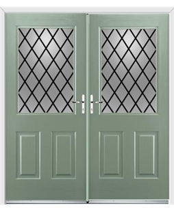 Windsor French Rockdoor in Chartwell Green with Diamond Lead