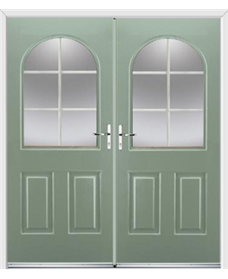 Kentucky French Rockdoor in Chartwell Green with White Georgian Bar