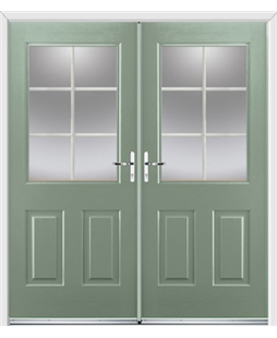 Windsor French Rockdoor in Chartwell Green with White Georgian Bar