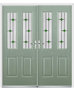 Jacobean French Rockdoor in Chartwell Green with Green Diamonds