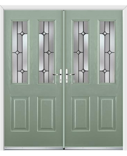Jacobean French Rockdoor in Chartwell Green with Linear