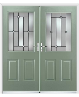 Windsor French Rockdoor in Chartwell Green with Linear
