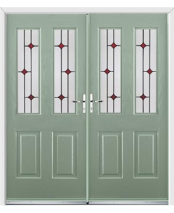 Jacobean French Rockdoor in Chartwell Green with Red Diamonds