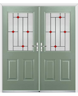 Windsor French Rockdoor in Chartwell Green with Red Diamonds