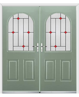 Kentucky French Rockdoor in Chartwell Green with Red Diamonds