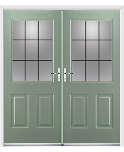 Windsor French Rockdoor in Chartwell Green with Square Lead