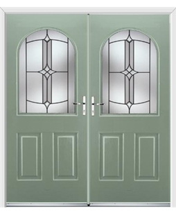 Kentucky French Rockdoor in Chartwell Green with Summit