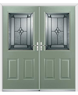 Windsor French Rockdoor in Chartwell Green with Titania Glazing