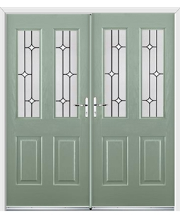 Jacobean French Rockdoor in Chartwell Green with White Diamonds