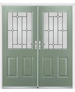 Windsor French Rockdoor in Chartwell Green with White Diamonds