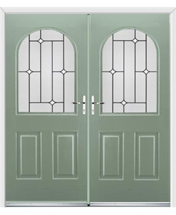 Kentucky French Rockdoor in Chartwell Green with White Diamonds